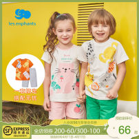 suit Les enfants 80cm 90cm 100cm 110cm 120cm 130cm neutral summer leisure time Short sleeve + pants 2 pieces Thin money There are models in the real shooting Socket nothing other cotton Cotton 100% Summer 2020
