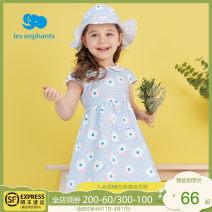 Dress Blue Orange female Les enfants 80cm / 1-year-old 90cm / 2-year-old 100cm / 3-year-old 110cm / 4-year-old 120cm / 6-year-old 130cm / 8-year-old Cotton 92.5% polyurethane elastic fiber (spandex) 7.5% summer princess Short sleeve printing cotton A-line skirt A2E2010601 Spring 2021