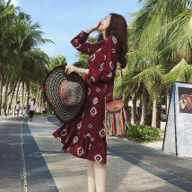 Dress Spring of 2018 claret S M L XL 2XL Mid length dress singleton  Long sleeves commute other Loose waist Abstract pattern Socket Ruffle Skirt routine Others 18-24 years old Type A Retro Bow and ruffle print 51% (inclusive) - 70% (inclusive) Chiffon