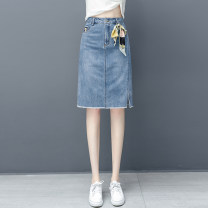 skirt Summer 2020 26/S,27/M,28/L,29/XL,30/2XL,31/3XL Denim blue Mid length dress commute High waist A-line skirt Solid color 25-29 years old GZY-183 71% (inclusive) - 80% (inclusive) cotton Pocket, stereo decoration Korean version