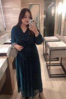 Women's large Winter of 2019, spring of 2020 Goddess blue 0, 1, 2, 3, 4, 5 Dress moderate Socket fold longuette