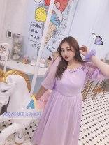 Women's large Summer 2020 Taro purple short, taro purple long L, XL, 2XL, 3XL, 4XL, 5XL Dress singleton  Sweet Socket Solid color princess