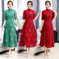cheongsam Summer of 2019 Short sleeve long cheongsam ethnic style High slit banquet 81% (inclusive) - 90% (inclusive)