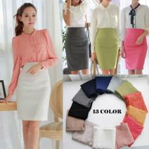 skirt Summer 2020 S,M,L,XL,XXL,XXXL White, gray, black, pink, light blue, blue, Navy, light green, light pink Middle-skirt commute Suit skirt Solid color Ol style