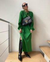 Dress Spring 2021 green XS,S,M,L longuette singleton  Long sleeves street Crew neck High waist Solid color zipper A-line skirt Type A BBWM Pleating More than 95% Europe and America