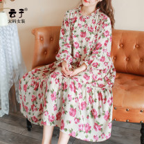 Women's large Autumn 2020 flower XL (recommended 130-160 kg) 2XL (recommended 160-190 kg) 3XL (recommended 190-220 kg) Dress singleton  commute easy moderate Socket Long sleeves Plants and flowers Retro other Medium length polyester Three dimensional cutting Petal sleeve YZ10210 Yunzi belt