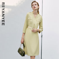 Dress Spring 2021 Light green S M L XL XXL Mid length dress singleton  three quarter sleeve commute V-neck middle-waisted Solid color Single breasted other routine Others 35-39 years old Type H Yan Yu Ol style Pocket button 20S1I0057 More than 95% polyester fiber Polyester 100%