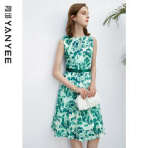 Dress Summer 2021 S M L XL XXL Middle-skirt singleton  Sleeveless commute Crew neck middle-waisted Decor Socket other routine Others 35-39 years old Type X Yan Yu Ol style zipper More than 95% silk Mulberry silk 100%