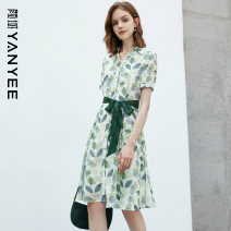 Dress Summer 2021 Green flower green (short sleeve) S M L XL XXL Middle-skirt singleton  commute V-neck middle-waisted Decor Single breasted Pleated skirt routine Others 35-39 years old Type X Yan Yu Ol style Button 20P1I0345 More than 95% polyester fiber Polyester 100%