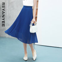 skirt Summer 2021 S M L XL XXL Blue [pre-sale 04.30] green [pre-sale within 30 days] Mid length dress commute Natural waist A-line skirt Solid color Type A 35-39 years old 10S1I0095 More than 95% Yan Yu polyester fiber zipper lady Polyester 100%