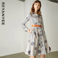 Dress Spring 2021 Decor 1 S M L XL XXL Mid length dress singleton  Long sleeves commute other middle-waisted Decor Single breasted A-line skirt shirt sleeve Others 35-39 years old Type H Yan Yu Ol style Button 71% (inclusive) - 80% (inclusive) polyester fiber