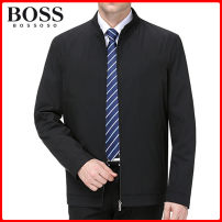 Jacket BOSSOSO Business gentleman Dark blue, black 165/84A,170/88A,175/92A,180/96A,185/100A,190/104A,195/108A,200/112A thin easy go to work spring Long sleeves Wear out stand collar Business Casual middle age routine Zipper placket 2021 Cloth hem No iron treatment Closing sleeve Solid color