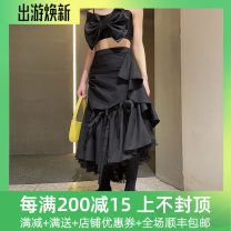 skirt Spring 2021 XS,S,M Black in stock, black in advance Mid length dress High waist 25-29 years old 212C00233 More than 95% Splicing