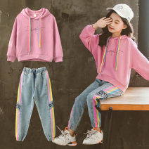 Sweater / sweater Other / other Green, orange, pink purple female 110cm,120cm,130cm,140cm,150cm,160cm spring and autumn No detachable cap Korean version Socket routine There are models in the real shooting Pure cotton (100% cotton content) Solid color Class B Cotton liner