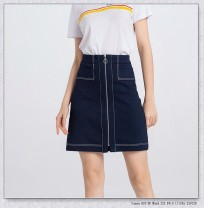 skirt Spring 2021 S,M,L,XL,XS navy blue Middle-skirt commute High waist A-line skirt Solid color Type A 25-29 years old 81% (inclusive) - 90% (inclusive) Denim Huaqingling cotton Pocket, zipper, open line decoration, stitching