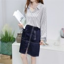skirt Spring 2021 155/60A,165/68A,160/64A,170/72A,175/76A,180/84A navy blue Mid length dress commute High waist Irregular Solid color Type A 25-29 years old 71% (inclusive) - 80% (inclusive) Denim Huaqingling cotton Pocket, tridimensional decoration, button, zipper, stitching Simplicity