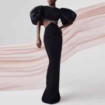 Dress / evening wear Wedding, adulthood, party, company annual meeting, performance, routine, appointment S,M,L,XL black fashion longuette middle-waisted Winter 2020 Fall to the ground stand collar Hollowing out polyester 26-35 years old Short sleeve 96% and above