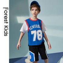 suit Forest kids blue 110cm 120cm 130cm 140cm 150cm 160cm 170cm male summer motion Short sleeve + pants 2 pieces Thin money There are models in the real shooting Socket nothing other friend birthday Cotton 100% Summer 2021 Chinese Mainland Zhejiang Province Hangzhou