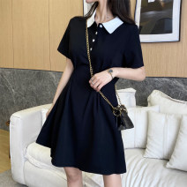 Dress Summer 2021 black S M L XL Short skirt singleton  Short sleeve commute Polo collar Solid color A-line skirt 25-29 years old Ohmdana / odena Korean version More than 95% other Other 100% Pure e-commerce (online only)