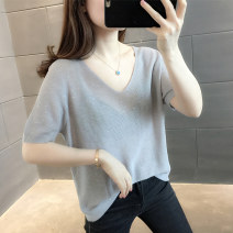 T-shirt Summer 2021 Short sleeve V-neck easy Regular payment routine commute other 96% and above Korean version Ohmdana / odena 643051939307 Other 100% Pure e-commerce (online sales only) Grey black apricot S M L XL