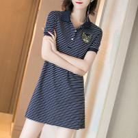Dress Summer 2020 White black dark blue S M L XL 2XL 3XL Short skirt singleton  Short sleeve commute Polo collar High waist stripe routine 25-29 years old Ohmdana / odena Korean version OHMDANA-a144 More than 95% other Other 100% Pure e-commerce (online only)