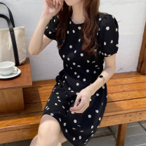 Dress Summer 2021 black S M L XL Short skirt singleton  Short sleeve commute Crew neck High waist Broken flowers Socket A-line skirt 25-29 years old Ohmdana / odena Korean version More than 95% other Other 100% Pure e-commerce (online only)