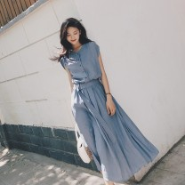Dress Summer 2021 Blue yellow black S M L XL longuette singleton  Short sleeve commute V-neck Solid color Big swing 25-29 years old Ohmdana / odena Korean version More than 95% other Other 100% Pure e-commerce (online only)
