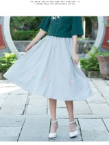 skirt Spring of 2019 Average size Light grey Mid length dress commute Natural waist Type A C560# Other / other Retro