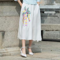 skirt Summer of 2019 Average size Pink, white Mid length dress commute Natural waist A-line skirt Big flower Type A 71% (inclusive) - 80% (inclusive) Other / other cotton Embroidery ethnic style