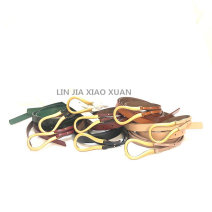 Belt / belt / chain Double skin leather Black, white, red, camel, green, khaki, apricot, brown female Waistband leisure time Single loop Youth, youth, middle age Smooth button Geometric pattern Glossy surface alloy 122cm