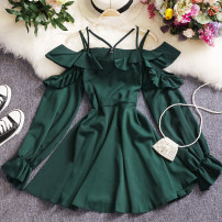 Dress Spring 2021 Black, Burgundy, green Average size Short skirt singleton  Sleeveless commute One word collar High waist Solid color Socket A-line skirt routine camisole 25-29 years old Type A Other / other Korean version W99 81% (inclusive) - 90% (inclusive) other other