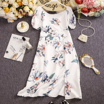 Dress Summer 2021 Light blue, dark blue, white M, L Short skirt singleton  Sleeveless commute square neck Elastic waist Decor Single breasted other routine camisole 25-29 years old Type H Other / other printing W801 81% (inclusive) - 90% (inclusive) other other