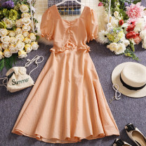 Dress Summer 2021 Purple, orange Average size Mid length dress singleton  Short sleeve commute other High waist lattice Socket A-line skirt routine Others 25-29 years old Type A Other / other Korean version W428 81% (inclusive) - 90% (inclusive) other other