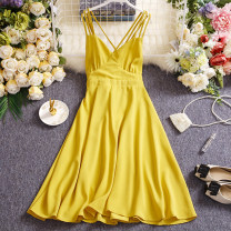 Dress Summer 2021 Black, yellow, blue, cyan, Burgundy, pink Average size Mid length dress singleton  Sleeveless commute V-neck High waist Solid color Socket A-line skirt routine camisole 25-29 years old Type A Other / other Simplicity W423 91% (inclusive) - 95% (inclusive) other other