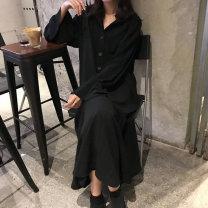 Dress Autumn 2020 black M [80-100 Jin], l [100-120 Jin], XL [120-140 Jin], 2XL [140-160 Jin], 3XL [160-180 Jin], 4XL [180-200 Jin] longuette singleton  Long sleeves commute Polo collar middle-waisted Solid color Socket Ruffle Skirt Bat sleeve 25-29 years old Korean version other other