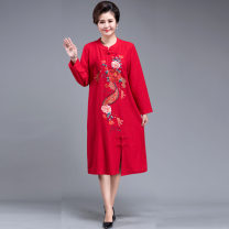 Dress Autumn of 2019 longuette singleton  Long sleeves commute Half open collar High waist Big flower Big swing routine Others 40-49 years old Type H ethnic style Embroidery 71% (inclusive) - 80% (inclusive) other
