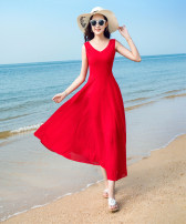 Dress Summer of 2018 White red blue black S M L XL 2XL 3XL Long skirt sweet Single sleeveless V collar Pure color Middle waist zipper Swing type conventional Other /other Type X 25-29 years old Deming family Chiffon 91% (inclusive) - 95% (inclusive) Vinegar Bohemia