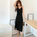 Dress Spring 2021 black S,M,L,XL,2XL longuette singleton  Sleeveless V-neck Solid color camisole Other / other