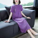 Women's large Summer 2020 violet M,2XL,3XL,L,XL Dress singleton  commute easy thin Socket Short sleeve Solid color, shape, other, bow literature stand collar Medium length Others, acetate, polyester Collage routine 2000008393###@@@@### 30-34 years old Button 71% (inclusive) - 80% (inclusive) bow