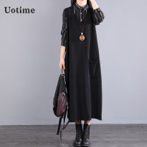 Wool knitwear Autumn of 2019 Average size black Sleeveless singleton  Socket cotton More than 95% Medium length routine commute Straight cylinder V-neck Solid color Socket Korean version UT20C6035 35-39 years old Uotime pocket Cotton 100% Pure e-commerce (online only)