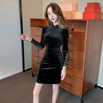 cheongsam Spring 2021 S, M black Long sleeves Short cheongsam Simplicity Low slit daily Oblique lapel Solid color 18-25 years old Piping 51% (inclusive) - 70% (inclusive)