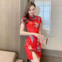 cheongsam Spring 2021 S,M,L,XL Red, pink, turquoise Short sleeve Short cheongsam Retro Low slit daily Oblique lapel Decor 18-25 years old Piping polyester fiber 51% (inclusive) - 70% (inclusive)