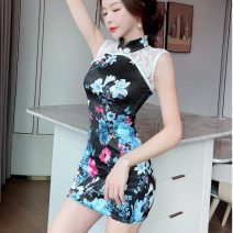cheongsam Spring 2021 M,L,XL Light blue, pink, black Sleeveless Short cheongsam ethnic style Low slit daily Round lapel Decor 18-25 years old Piping 51% (inclusive) - 70% (inclusive)