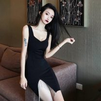 Dress Spring 2021 black S,M,L Short skirt singleton  Sleeveless commute V-neck High waist Solid color Socket A-line skirt Others 18-24 years old Type H Other / other Korean version 51% (inclusive) - 70% (inclusive) polyester fiber