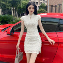 cheongsam Spring 2021 S,M,L,XL Cream apricot Short sleeve Short cheongsam Simplicity Low slit daily woman's dress buttoned down from right armpit Solid color 18-25 years old polyester fiber 51% (inclusive) - 70% (inclusive)