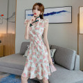 cheongsam Spring 2021 M, L Decor Sleeveless long cheongsam lady No slits daily Oblique lapel Decor 18-25 years old Piping A8190 51% (inclusive) - 70% (inclusive)
