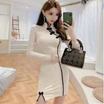 cheongsam Spring 2021 S,M,L Black, apricot white Long sleeves Short cheongsam Simplicity Low slit daily Oblique lapel Solid color 18-25 years old Piping 51% (inclusive) - 70% (inclusive)
