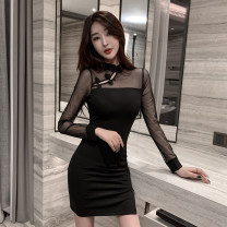 cheongsam Spring 2021 S,M,L,XL black Long sleeves Short cheongsam ethnic style Low slit daily Oblique lapel Solid color 18-25 years old Piping polyester fiber 51% (inclusive) - 70% (inclusive)