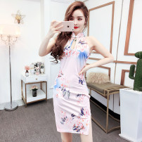cheongsam Spring 2021 S,M,L,XL Picture color Sleeveless Short cheongsam Retro Low slit daily woman's dress buttoned down from right armpit Decor 18-25 years old Piping 51% (inclusive) - 70% (inclusive)