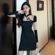 cheongsam Spring 2021 S,M,L black Short sleeve Short cheongsam ethnic style No slits daily Oblique lapel Solid color 18-25 years old Piping 51% (inclusive) - 70% (inclusive)